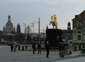 Golden Horseman on the market square Neustädter Markt