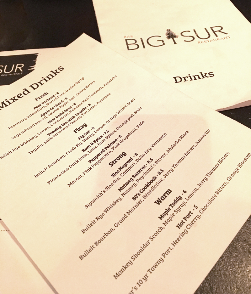 Restaurant recommendation: BIG SUR